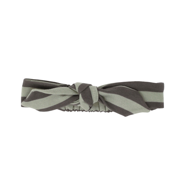 Organic Tie Headband in Gray/Seafoam Stripe, Flat