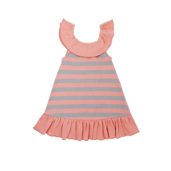 Organic Ruffle Dress in Coral/Light Gray Stripe, Flat