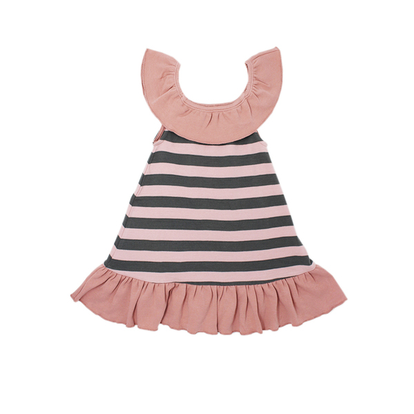 Organic Ruffle Dress in Mauve/Gray Stripe, Flat