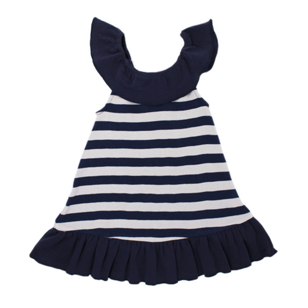 Organic Ruffle Dress in Navy/Light Gray Stripe, Flat