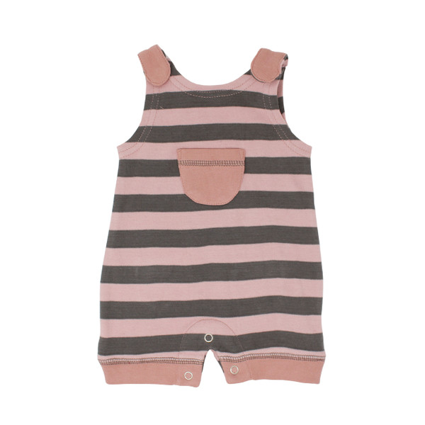 Organic Sleeveless Romper in Mauve/Gray Stripe, Flat