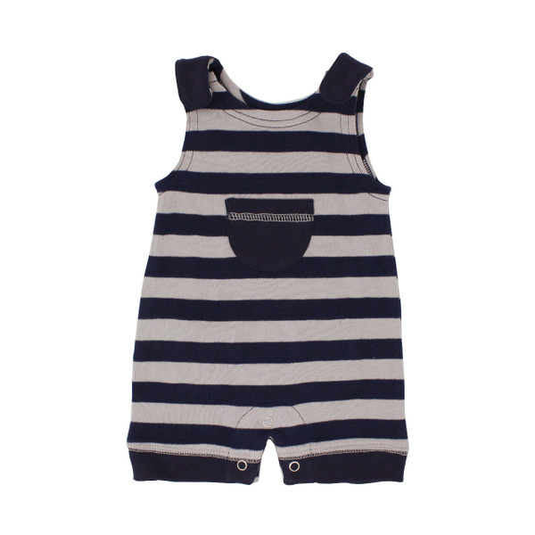 Organic Sleeveless Romper in Navy/Light Gray Stripe, Flat
