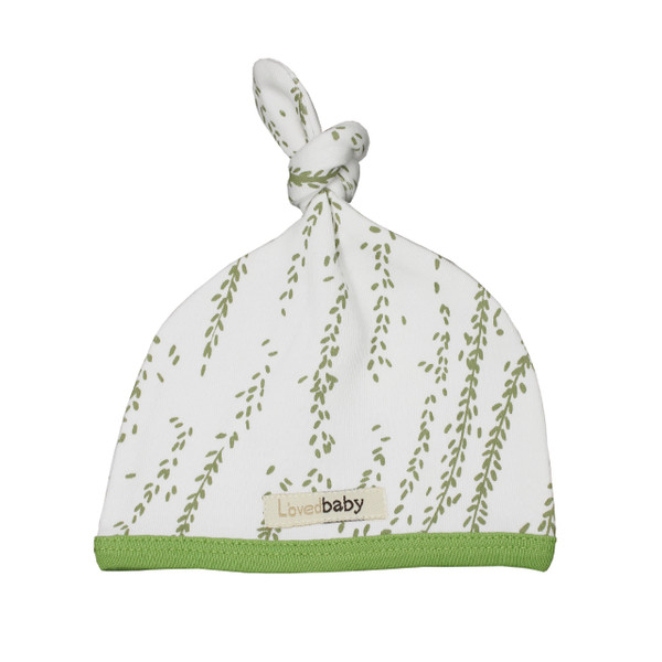 Organic Top-Knot Hat in Moss Willow, Flat