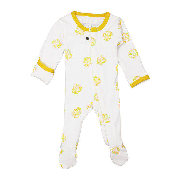 Organic Zipper Footed Overall in Yellow Sunflower, Flat
