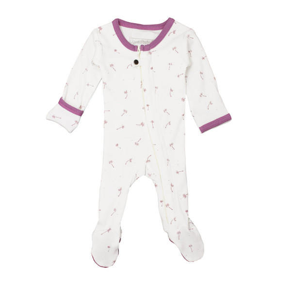 Organic Zipper Footed Overall in Grape Dandelion, Flat