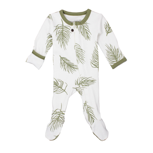 Organic Zipper Footed Overall in Sage Palm, Flat