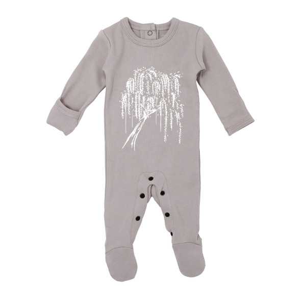 Organic Graphic Footie in Light Gray Willow, Flat