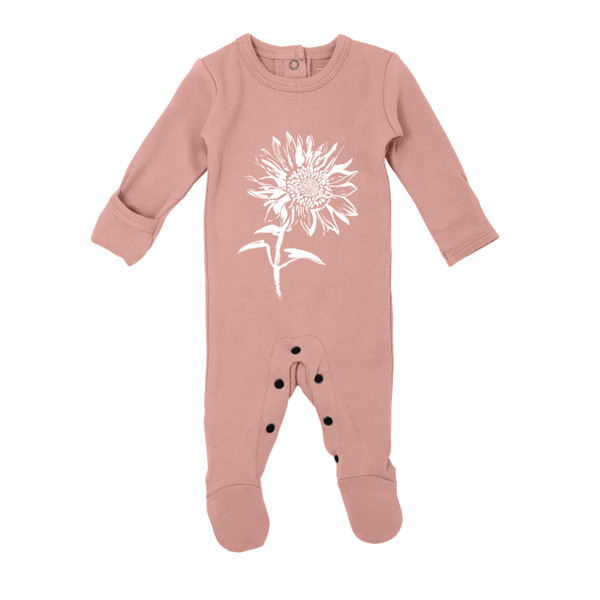 Organic Graphic Footie in Mauve Sunflower, Flat