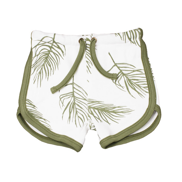 Organic Track Shorts in Sage Palm, Flat