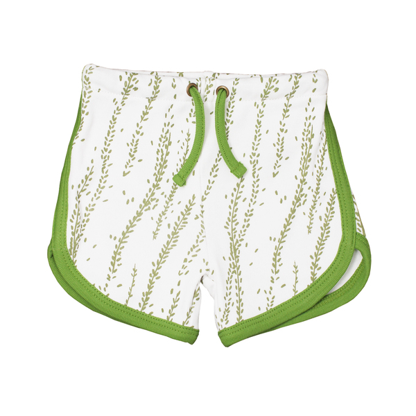 Organic Kids' Track Shorts in Moss Willow, Flat