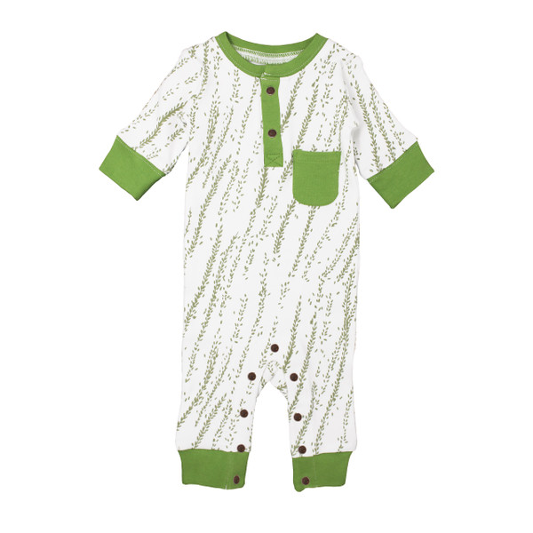Organic Footless Romper in Moss Willow, Flat