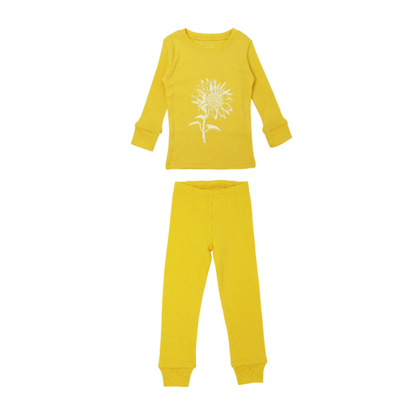 Organic Kids' L/Sleeve PJ Set in Yellow Sunflower, Flat