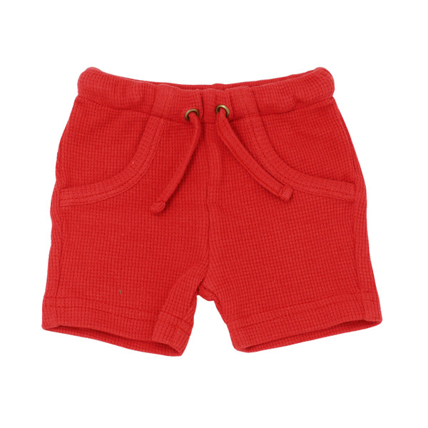 Organic Thermal Bike Shorts in Ruby, Flat