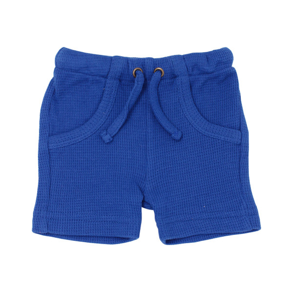Organic Thermal Bike Shorts in Sapphire, Flat