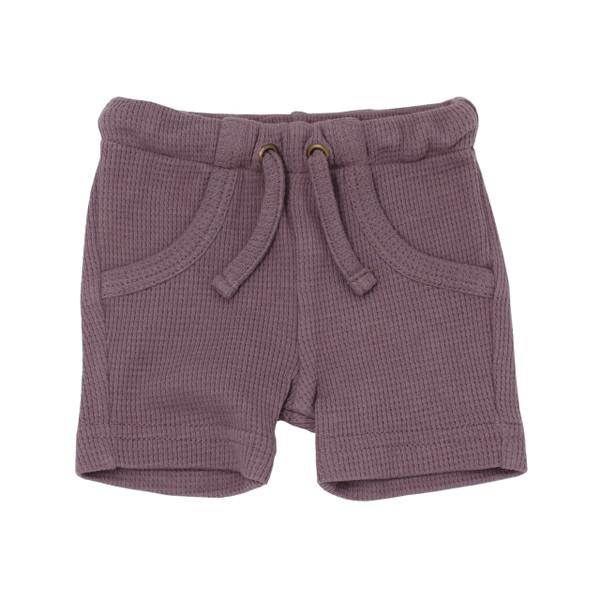Organic Thermal Bike Shorts in Amethyst, Flat