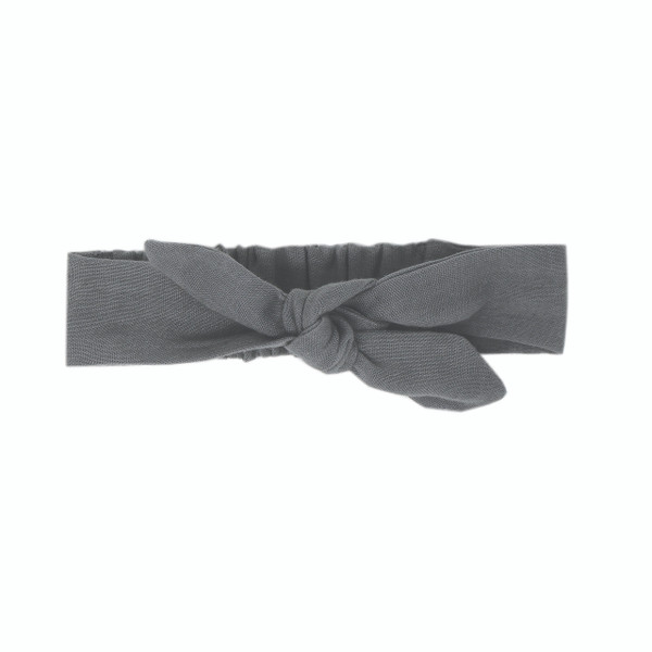 Organic Muslin Tie Headband in Gray, Flat