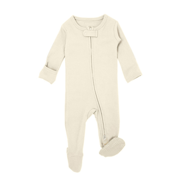 Organic Zipper Jumpsuit in Beige, Flat