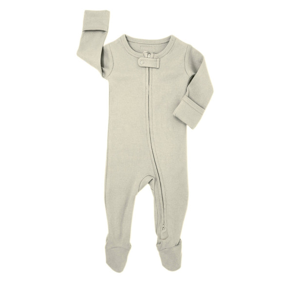 Organic Zipper Footed Overall in Stone, Flat