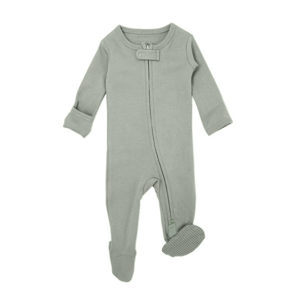 Organic Zipper Footed Overall in Seafoam, Flat