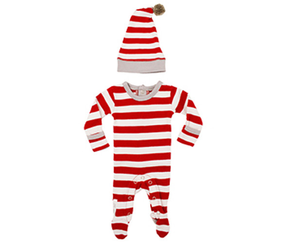 Organic Overall & Cap Set in Candy Cane Stripe, Flat