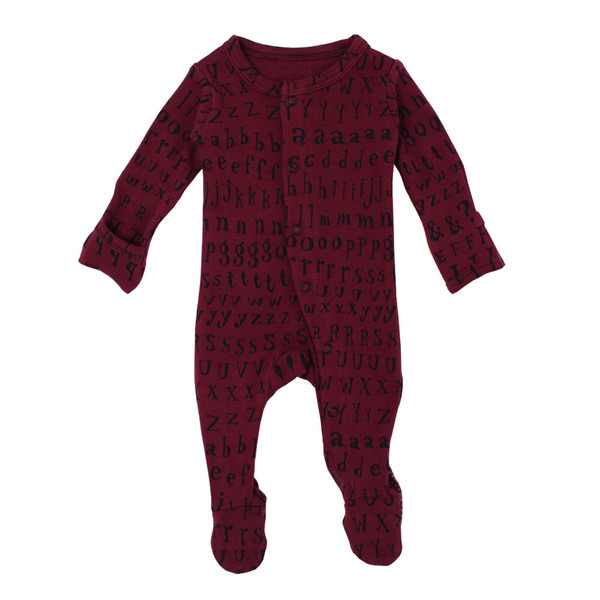 Organic Jumpsuit in Cranberry Letters, Flat