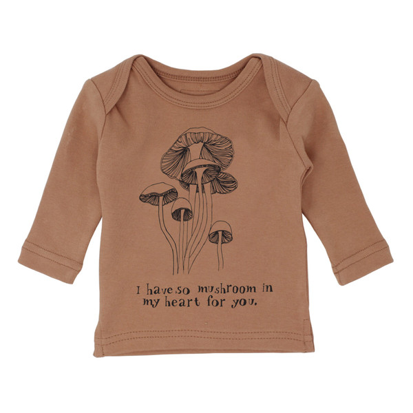 Organic L/Sleeve Shirt in Nutmeg Mushrooms, Flat