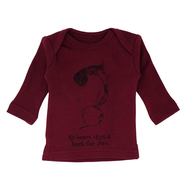Organic L/Sleeve Shirt in Cranberry Beet, Flat