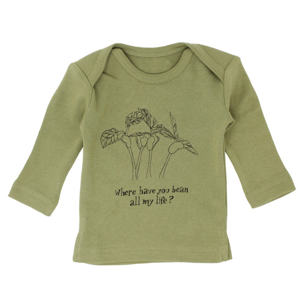 Organic L/Sleeve Shirt in Sage Beans, Flat