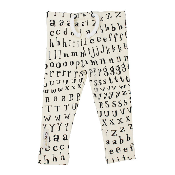 Organic Drawstring Leggings in Beige Letters, Flat