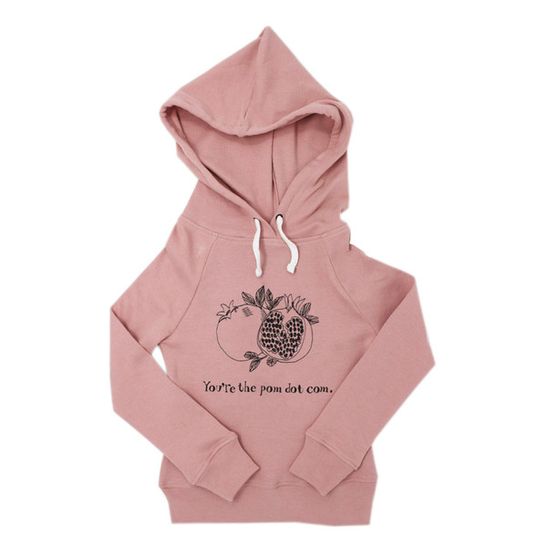 Organic Kids' Graphic Hooded Sweatshirt in Mauve Pomegranate, Flat