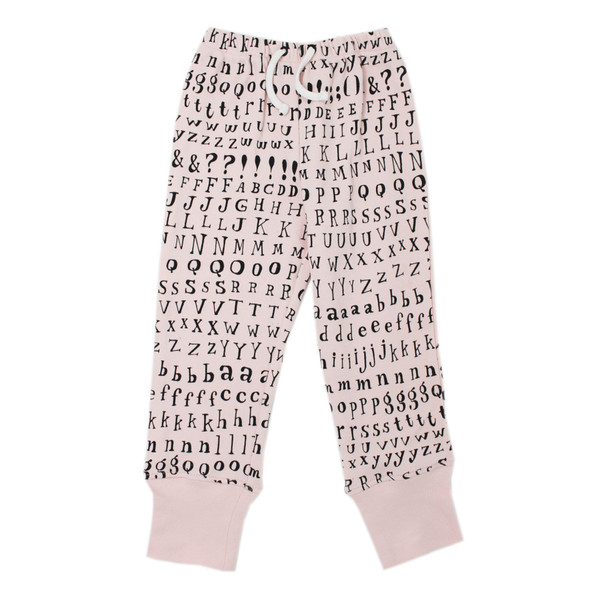 Organic Kids' Jogger Pants in Blush Letters, Flat