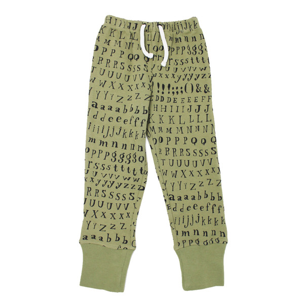Organic Kids' Jogger Pants in Sage Letters, Flat