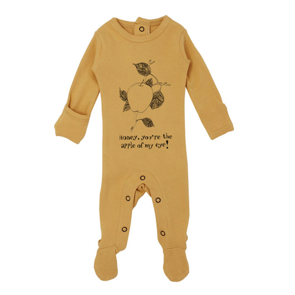 Organic Graphic Footie in Honey Apple, Flat