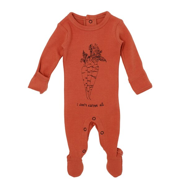Organic Graphic Footie in Maple Carrot, Flat