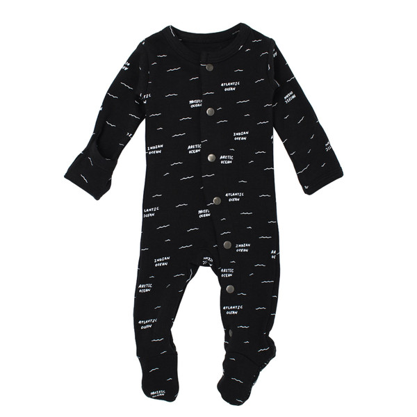 Organic Footed Overall in Black Seas, Flat
