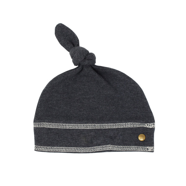 Organic Banded Top-Knot Hat in Dark Heather/Beige, Flat