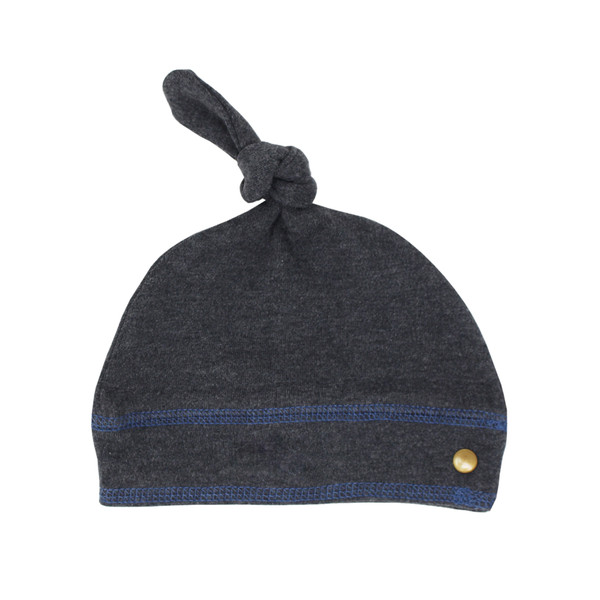 Organic Banded Top-Knot Hat in Dark Heather/Slate, Flat