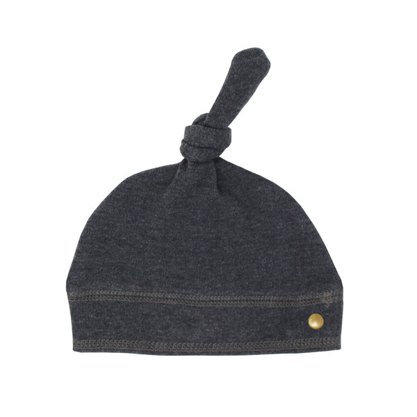 Organic Banded Top-Knot Hat in Dark Heather/Gray, Flat