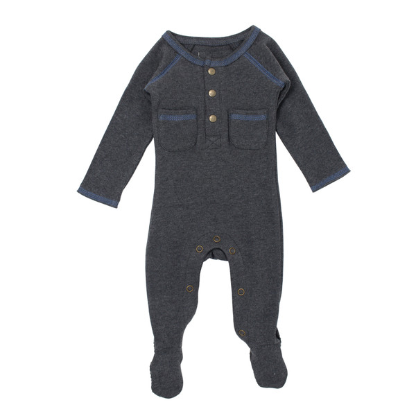 Organic Pocket Jumpsuit in Dark Heather/Slate, Flat