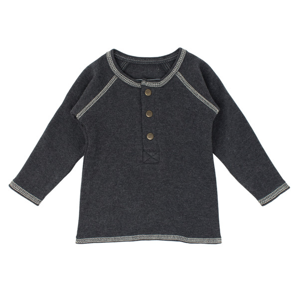 Organic Raglan Henley in Dark Heather/Beige, Flat