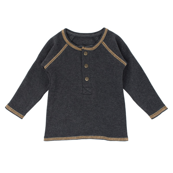 Organic Raglan Henley in Dark Heather/Honey, Flat