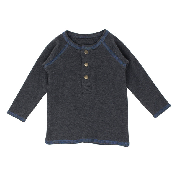 Organic Raglan Henley in Dark Heather/Slate, Flat