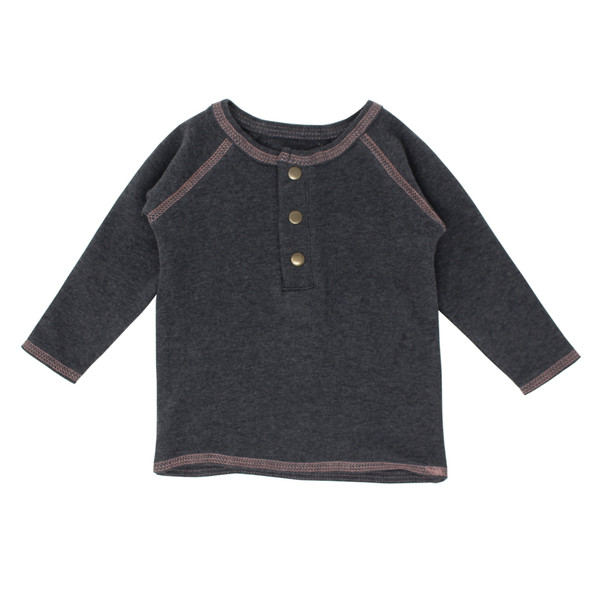 Organic Raglan Henley in Dark Heather/Mauve, Flat