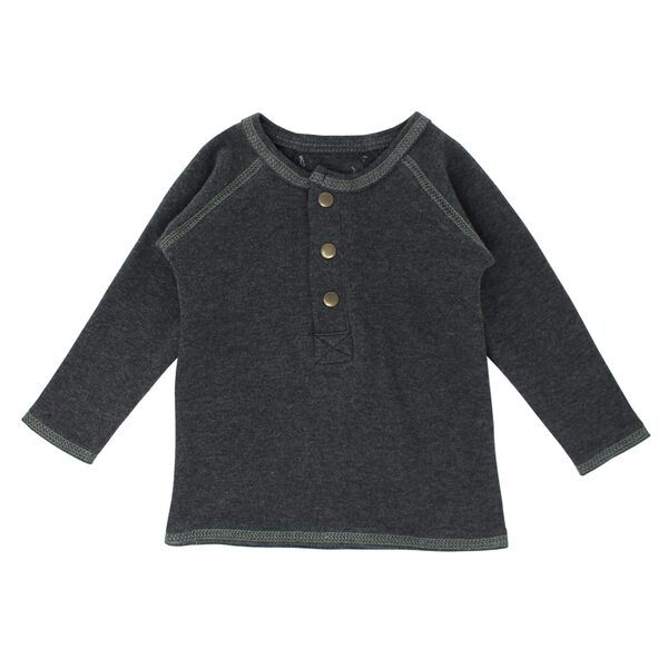 Organic Raglan Henley in Dark Heather/Seafoam, Flat