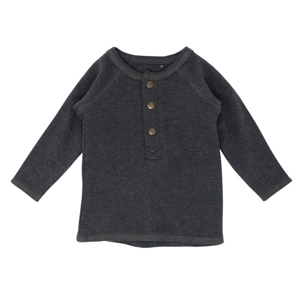 Organic Raglan Henley in Dark Heather/Gray, Flat