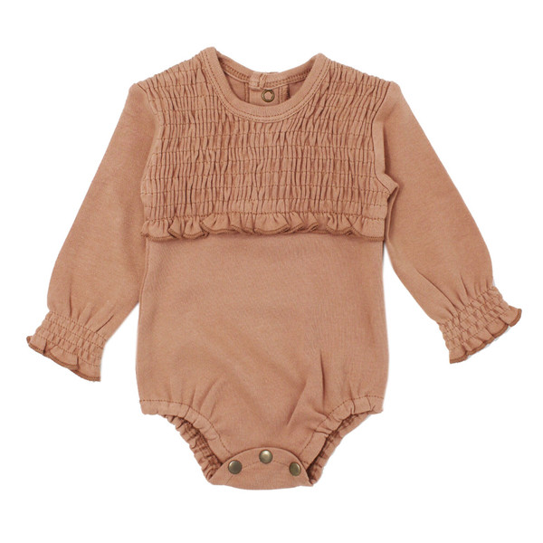 Organic Smocked Bodysuit in Nutmeg, Flat