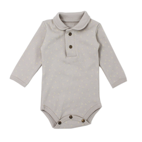 Organic Polo Bodysuit in Pebble Dots, Flat