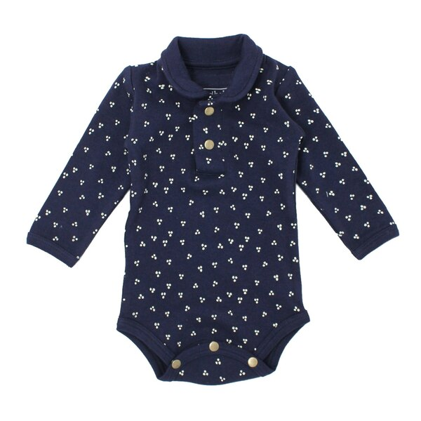 Organic Polo Bodysuit in Navy Dots, Flat