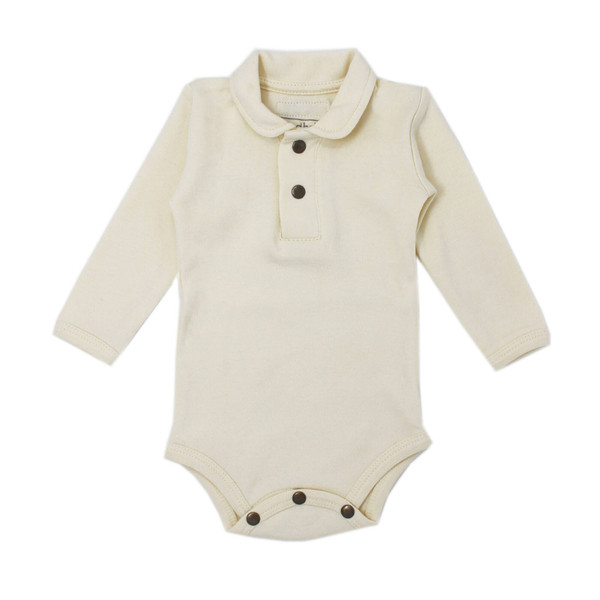 Organic Polo Bodysuit in Beige, Flat