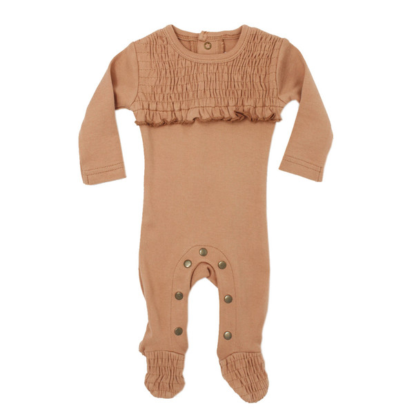 Organic Smocked Overall in Nutmeg, Flat